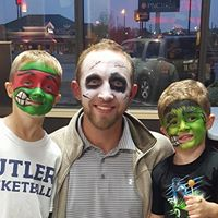 Ninja Turtle, Ghoul, and Frankenstein face painting
